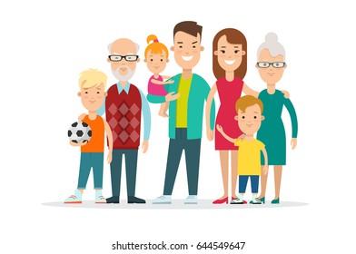 Flat Happy Family portrait vector illustration. Life cycle concept. children, parents, grandparents.