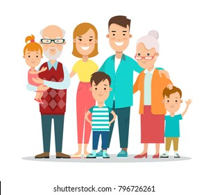 Flat Happy Family portrait vector illustration. Life cycle concept. children, parents, grandparents. Parenting: mother, father, kids, grandmother, grandfather, son, daughter