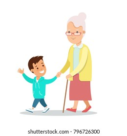 Flat Happy Family portrait vector character illustration. Grandmother and grandson walking. Children, parents, grandparents concept