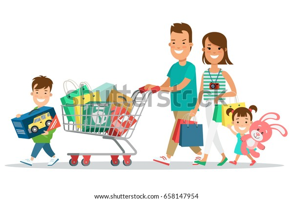 4d4d5f30c5dec Flat Happy parents and children with purchases on cart vector illustration. Shopping  concept.
