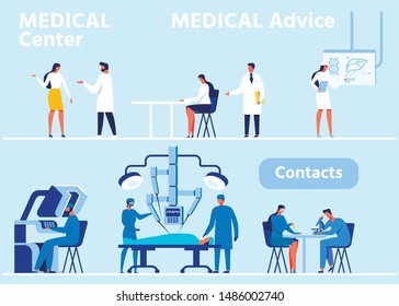 Flat Header Banner Set for Modern Medical Center. Hospital ER, Primary Examination Room for Consultations and Advice. Surgical Operating Room with Robotic Equipment. Vector People Illustration