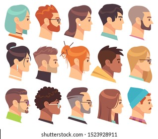 Flat heads in profile. Different human heads, male and female with various hairstyles and accessories. Colorful web avatars vector simple symbol of face character set