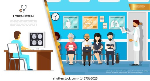 Flat healthcare concept with doctor looking at results of patient brain tomography and people waiting for doctor appointment in hospital vector illustration