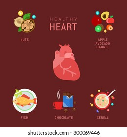 Flat healthy heart lifestyle vector infographics concept. Human organ icon with nuts apple avocado garnet fish chocolate cereal elements around. Health and fitness collection.