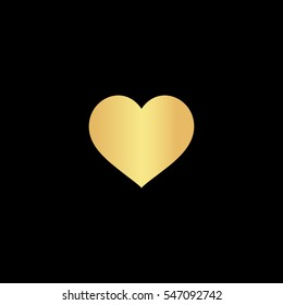 Flat heart. Gold symbol icon on black background