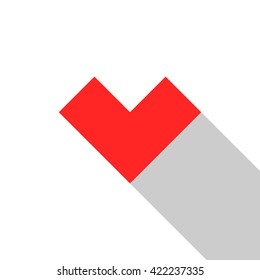 Flat heart illustration. Simple geometric pixel art heart with long shadow isolated on white background. Red heart icon for web. 10 EPS vector file
