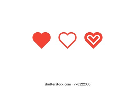 Flat Heart Symbol. Perfect Hearts Icon. Symmetric, Modern, Simple, Vector, Logo, Like, Signs, Sign, Happy