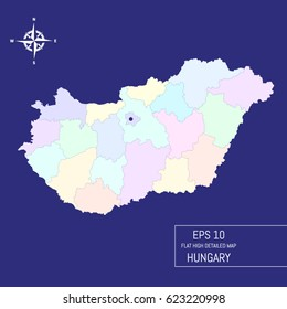Flat high detailed Hungary map. Divided into editable contours of administrative divisions. Template for your design works. Vector illustration.