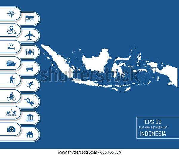 flat high detailed indonesia map divided stock vector royalty free 665785579 shutterstock