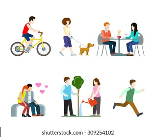 Flat high quality city street pedestrians icon set. Bicycle rider dog walker cafe table bench romantic lovers tree watering runner. Build your own world web infographic collection.