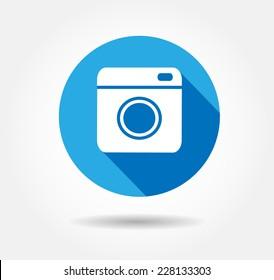 Flat Hipster camera photo Vector button illustration EPS 10,jpg,jpeg instagram,logo,background social network blue instagra icon.Media symbol