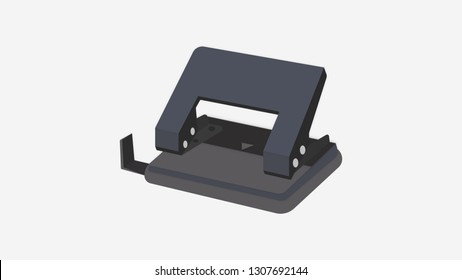 Flat hole puncher Illustration. Vector realistic icon. Office and school supplies.