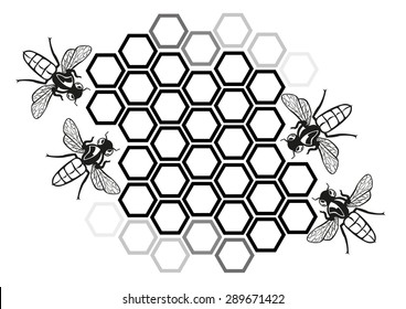 Flat Honey Bee in Honeycomb Illustration Silhouette. Editable Clip Art.