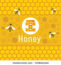 Flat honey logo and background with vector bee, honey jars and honeycombs in apiary background. Vector concept apiary