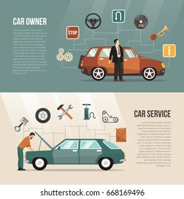Flat horizontal auto banners with car owner and service mechanic isolated vector illustration