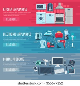 Flat horizontal household banners set of kitchen equipment electronic appliances and digital products vector illustration