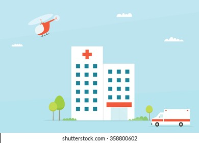 Flat Hospital building with ambulance and helicopter. Vector illustration