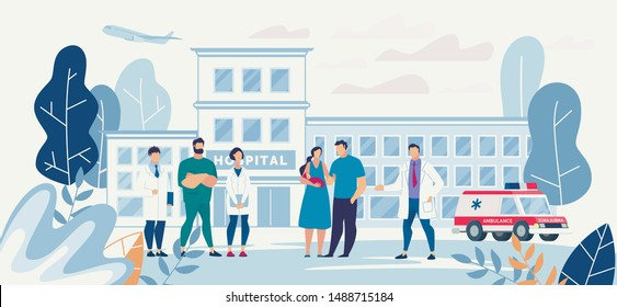Flat Hospital Yard with Young Family and Medical Staff. Clinic Building. Mother Holds Newborn Baby in Hand. Man Hugs Woman. Chief Physician, Doctors Group. Cartoon Ambulance Car. Vector Illustration