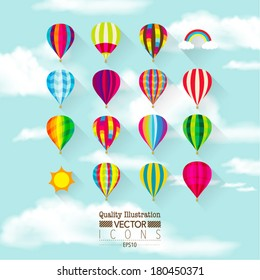 Flat Hot Air Balloon Vector Icon Set