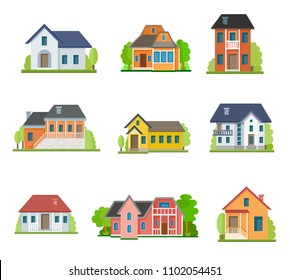 Flat house front icon set, vector illustration. Different types of cottages, residential and guest houses