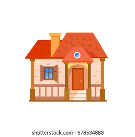 Flat house front icon, vector illustration. Cottage with red roof