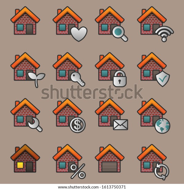 Flat house icon set. Vector illustration.