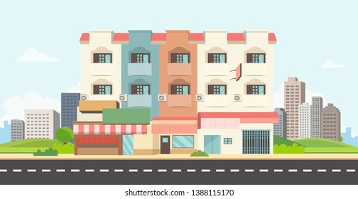 Flat house on main street with park and city background.Apartment with town landscape vector design. Townhome with public park and sky background.