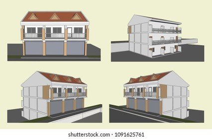 Flat House Perspective, Vector & Illustration