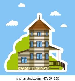 Flat house sticker style on blue background. Isolated on white