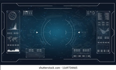 Flat hud for concept design. Lcd tv monitor isolated, vector illustration. Future technology display design.