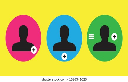 flat icon add friend ,add photo,colorful