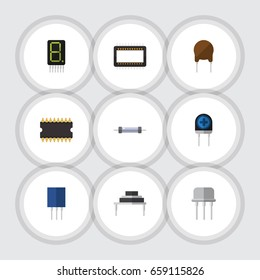 Flat Icon Appliance Set Of Resist, Receptacle, Resistor And Other Vector Objects. Also Includes Calculator, Resistor, Semiconductor Elements.