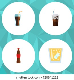 Flat Icon Beverage Set Of Lemonade, Juice, Fizzy Drink And Other Vector Objects. Also Includes Soda, Drink, Carbonated Elements.