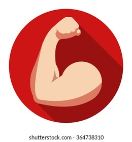 Flat icon of biceps on red background