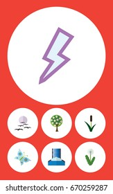 Flat Icon Bio Set Of Tree, Cascade, Cattail And Other Vector Objects. Also Includes Flower, River, Moth Elements.