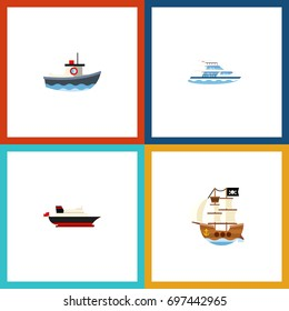 Flat Icon Boat Set Of Cargo, Boat, Transport And Other Vector Objects. Also Includes Cargo, Transport, Ship Elements.