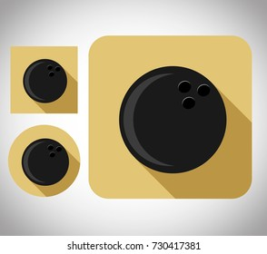 flat icon bowling ball, vector cartoon illustration design, in one package or set