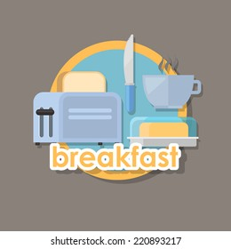 flat icon or breakfast