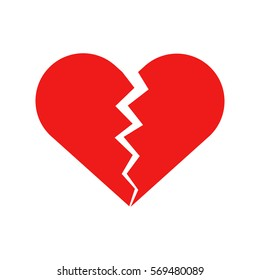 Flat icon broken heart isolated on white background. Vector illustration.