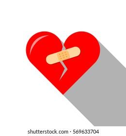 Flat icon of Broken heart with plaster, healing. Vector.