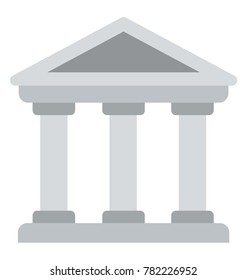 A flat icon of a building with three pillars, architectural design of bank