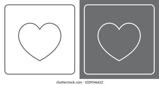Flat Icon Button - Heart