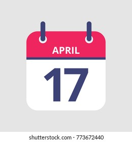 Flat icon calendar 17th of April isolated on gray background. Vector illustration.