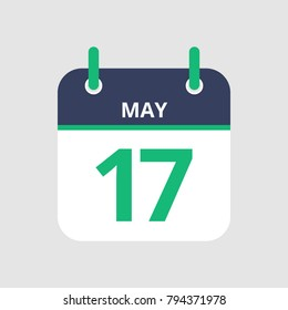 Flat icon calendar 17th of May isolated on gray background. Vector illustration.