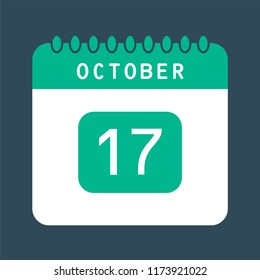 Flat icon calendar 17th of October isolated on blue background. Vector illustration.