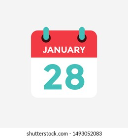 Flat icon calendar 28 January. Date, day and month. Vector illustration.