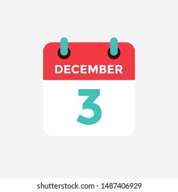 Flat icon calendar 3 December. Date, day and month. Vector illustration.