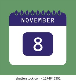 Flat icon calendar 8th of November isolated on green background. Vector illustration.