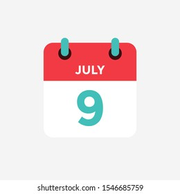 Flat icon calendar 9 of July. Date, day and month. Vector illustration.