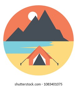 Flat icon of a camp at the seashore